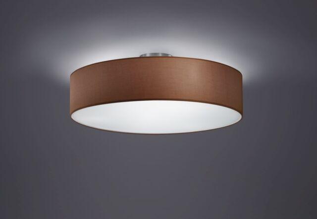 Trio Design Retro Deckenlampe Stoffschirm Stoff braun 603900314 50cm LED NEU