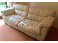 URGENT - Two Large Cream Leather Sofas - 4 seater - NEED TO SELL QUICKLY