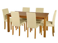 Table and 6 Chairs - Brand New - 6 Seater - Solid Wood Table - Cream Chairs - Dining set oak -
