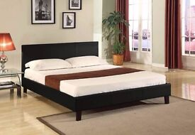 FREE FAST DELIVERY!! KING SIZE LEATHER BED WITH MATTRESS !! BLACK / BROWN