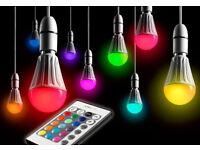 LED light bulb - AURAGLOW - B22 - 10W remote controlled RGB