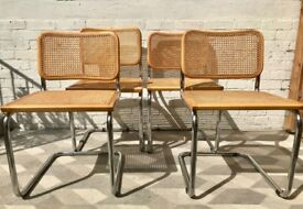 Set of 4 Marcel Breuer Chairs Wicker Wood #790