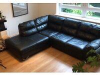 Comfortable Black Leather L-Shaped Sofa 5 Seat