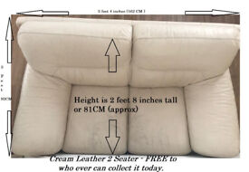 FREE to Collector A Cream REAL Leather Two Seater Sofa - See Pictures...