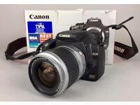 -BOXED- CANON EOS 350D DIGITAL 8 MP SLR BLACK CAMERA & EF 28-90MM 1:4-5.6 ZOOM LENS