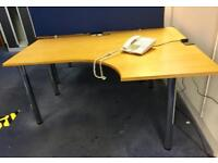 GOOD QUALITY CURVED WOODEN OFFICE DESKS - £65 EACH