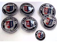 BMW ALPINA 7 PIECE BADGE PACK - 1 x 82mm BONNET, 1 x 74mm BOOT, 4 x ALLOY WHEEL, 1 x STEERING WHEEL