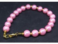 Baby Pink Glass Pearl Bracelet with Gold Spacer Beads Handcrafted