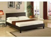 🔴PREMIUM QUALITY🔵(4ft6inch) Double & (5ft)King Size Leather Bed Frame W Opt Mattress