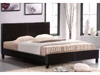 【QUALITY LEATHER BED】EXPRESS FAST DELIVERY LEATHER BED-DOUBLE SIZE FRAME -BLACK-BROWN- WITH MATTRESS