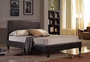Brassex Alexis Platform Dark Espresso Faux Leather Bed Frame In Stock In Canada