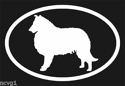 Pair of COLLIE Oval Euro Decal Sticker dog dogs Puppies