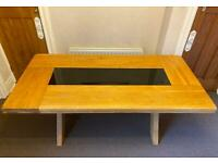 Solid Oak Large Dining Table with a Smoked Black Glass Top Insert
