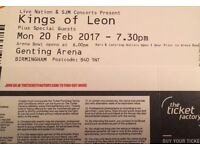 X2 Kings of Leon seating tickets, Genting arena, birmingham 20/2/17.