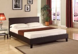 ✔️CLASSIC OFFER✔️LEATHER KING SIZE BED ✔️W/ ORTHOPAEDIC MATTRESS SAME DAY DELIVERY (BLACK & BROWN)✔️
