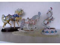 BROOKS & BENTLEY 3 Beautiful Ornamental Horses- Carousel Horse: Rocking Horse: 'Prancing' Horse.