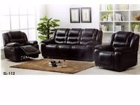 New 3 pc leather aire suite, 3 seat sofa plus 2 single recliners