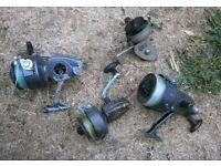 4 old fishing reels for parts spares repair