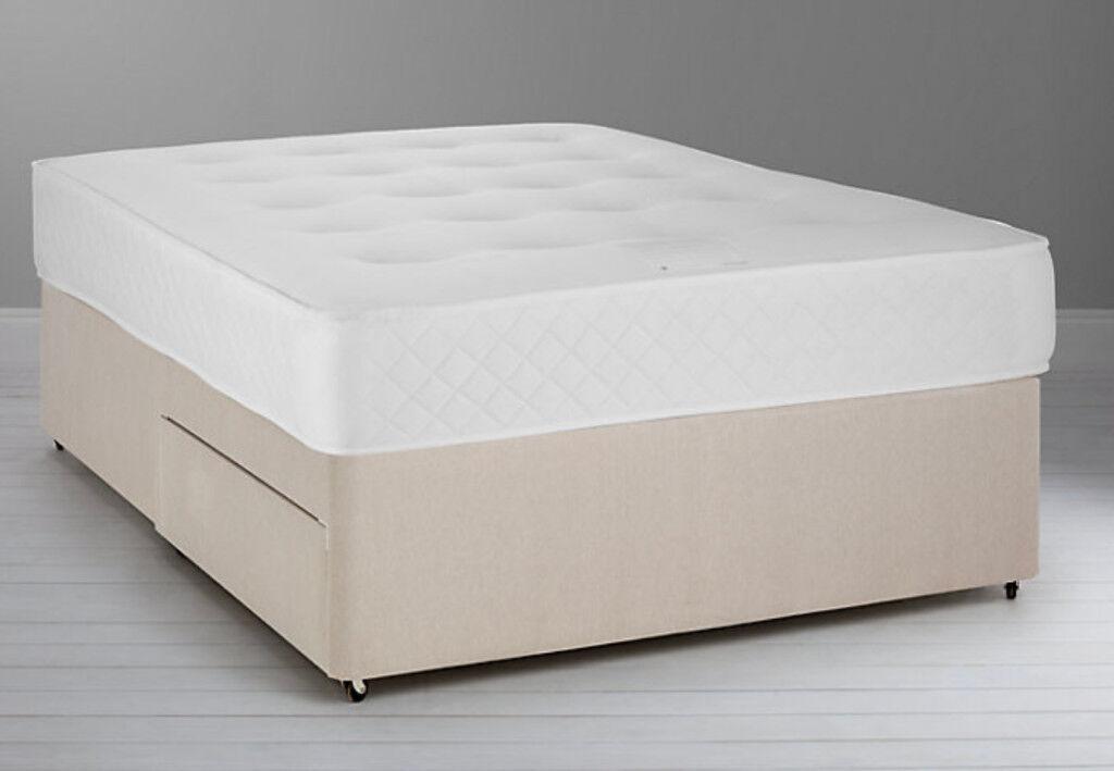 Free delivery - King size John Lewis mattress divan set - 18 months old