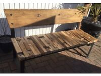 Solid Reclaimed Elm 3 Seater Bench.