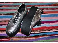 Silver crep shoes on high platform size 3 uk