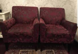 2 BEAUTIFUL ALL OVER PRINTED ARMCHAIRS