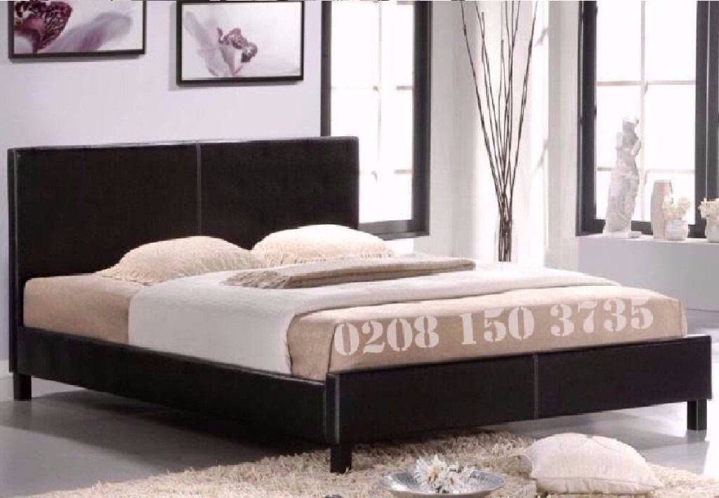 【BRAND NEW】FAUX LEATHER BED 3FT SINGLE 4FT SMALL DOUBLE 4FT6 DOUBLE 5FT KING STRONG FRAME