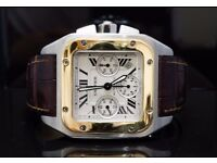 CARTIER Santos 100XL Chrono, Steel , Yellow Gold, Automatic, Box & Papers
