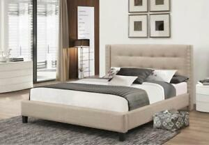 QUEEN PLATFORM BED - FOR RUSTIC WOOD OR TUFTED UPHOLSTERED FABRIC HEADBOARDS - VISIT KITCHEN AND COUCH	(BD-1041)