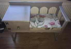 'Chippy' telephone seat painted in Annie Sloan French Linen