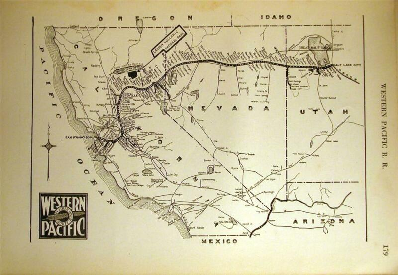 1925 WESTERN PACIFIC RAILROAD WP RR SYSTEM MAP DEPOT TRANSPORTATION HISTORY
