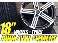 "4 NEW 18"" VW STYLE ALLOYS WHEELS + 4 NEW TYRES GOLF GTD GTI R R32 GT TOURAN POLO PASSAT CADIZ SEAT"