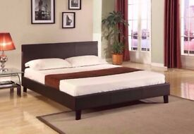 ''LIMITED STOCK''Double Leather Bed + Deep Quilted Mattress --Very Cheap Price- Express Delivery