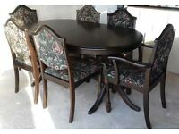 Beautiful Oval Solid Dark Oak Dining Table And Chairs