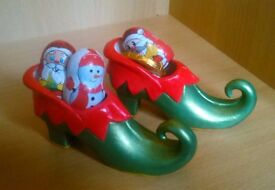 Hand painted ceramic elf shoe with chocs. Ideal gift / stocking filler