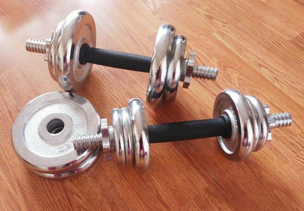 Chrome Dumbbells Pro Fitness and Curl Bar 12