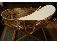 Clair de Lune Palm Moses Basket with a free waterproof Mattress
