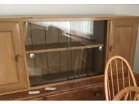 Beautiful bespoke oak display/storage wall unit made to match Ercol furniture for sale.