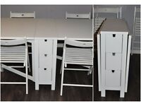 IKEA NORDEN Gateleg Adjustable Table With Drawers White 4 Chairs Kitchen Dining Table