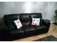 Quality Genuine Real Leather 3 Seater Black Sofa for sale, excellent condition
