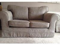 Taupe 3 seater sofa, 2 seater sofa and footstool all in excellent condition. Less than 4 years old