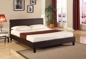 **ITALIAN PU LEATHER ***NEW 4FT or 4FT6 DOUBLE LEATHER BED AND MATTRESS RANGE*** *SAME DAY DELIVERY*
