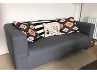 IKEA KLIPPAN grey two seater sofa with spare cover