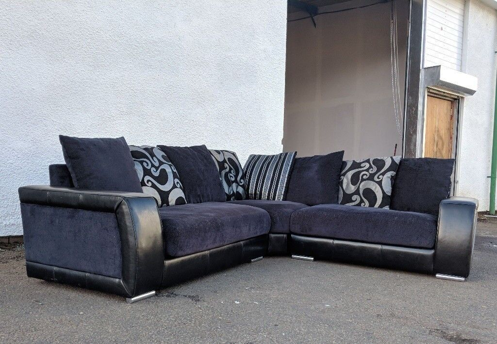 Black Leather Fabric Corner Sofa Delivery Available In