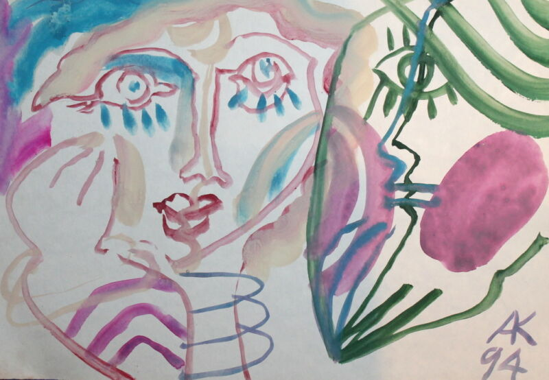 ABSTRACT EXPRESSIONIST ART WOMAN MAN FACES WATERCOLOR DRAWING SIGNED