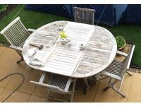 Plantation Solid Teak Garden Dining Set and 6 Folding Ladder Back Chairs