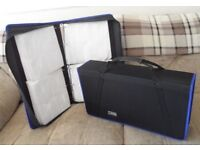 2 x AMPS 800 CD/DVD LARGE STORAGE CASES - CANVAS STYLE- STORAGE FOR 800 DISCS IN EACH -VGC