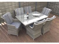 Homeflair Rattan Garden Furniture Victoria grey dining table+ 6 chairs £1049