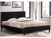 🌷💚🌷SAME DAY FAST DELIVERY 🌷💚🌷 DOUBLE LEATHER BED FRAME WITH DEEP QUILTED MATTRESS -SAME DAY