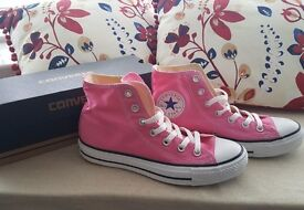 Brand new size 5 pink high top converse